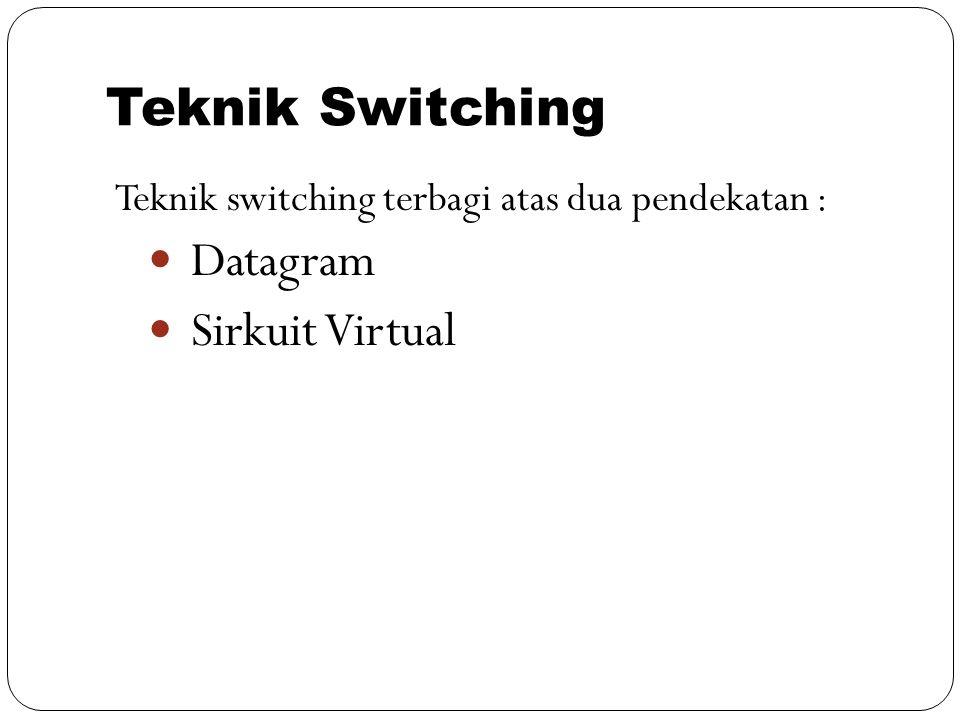 Teknik Switching Teknik switching terbagi atas dua pendekatan : Datagram Sirkuit Virtual