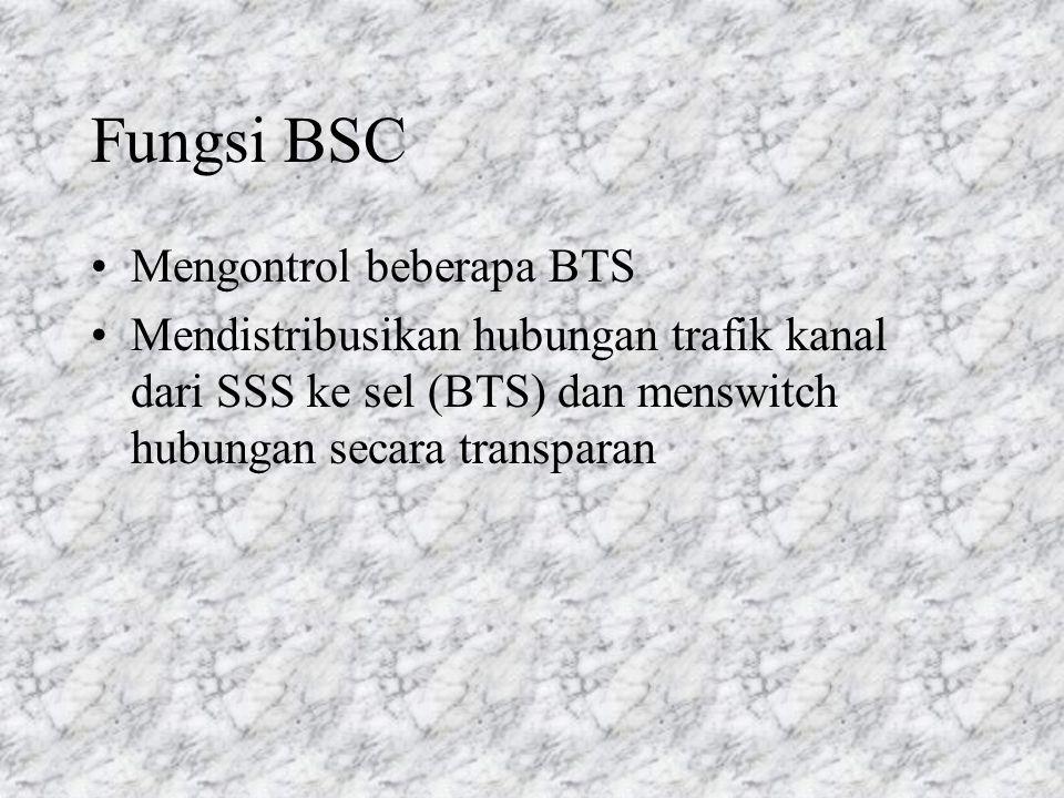 Fungsi BSC Mengontrol beberapa BTS Mendistribusikan hubungan trafik kanal dari SSS ke sel (BTS) dan menswitch hubungan secara transparan