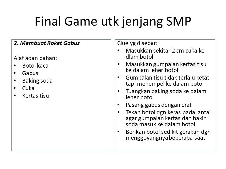 Pos 1 Nama permainan: bola raja Durasi: 40 menit per sesi Teknis: Di area ini ada 2 titik permainan, 4 tim bermain selama 15 menit dan 4 tim lain menunggu.