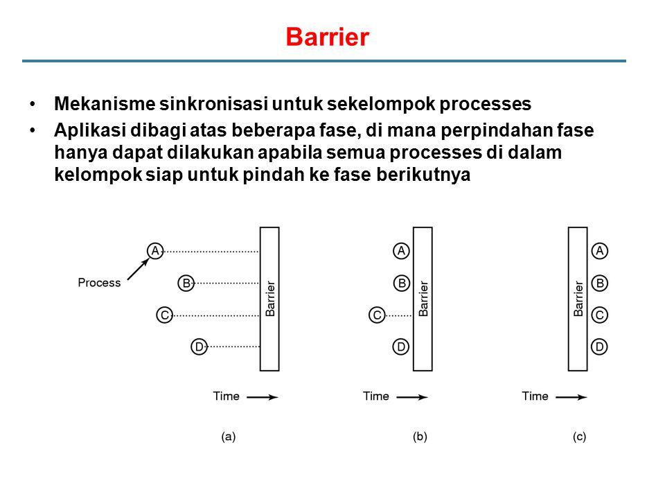 Barrier Mekanisme sinkronisasi untuk sekelompok processes Aplikasi dibagi atas beberapa fase, di mana perpindahan fase hanya dapat dilakukan apabila s