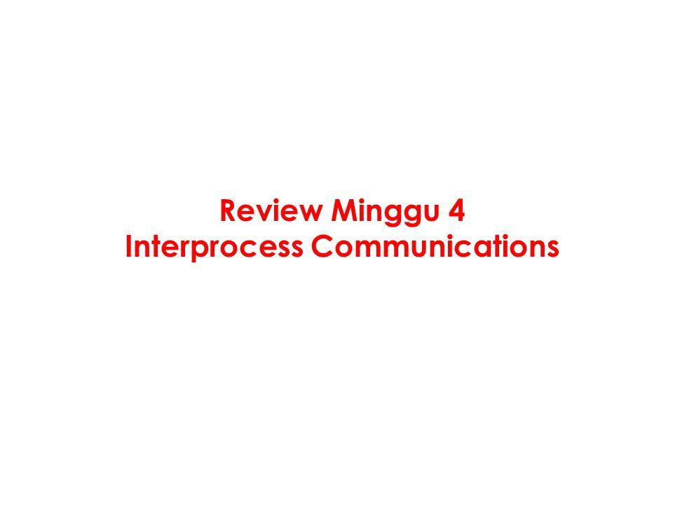 Interprocess Communications Bagaimana processes berkomunikasi.