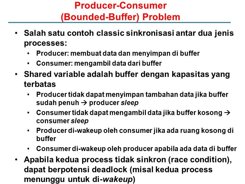 Producer-Consumer (Bounded-Buffer) Problem Salah satu contoh classic sinkronisasi antar dua jenis processes: Producer: membuat data dan menyimpan di b