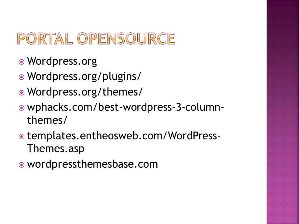  Wordpress.org  Wordpress.org/plugins/  Wordpress.org/themes/  wphacks.com/best-wordpress-3-column- themes/  templates.entheosweb.com/WordPress- Themes.asp  wordpressthemesbase.com