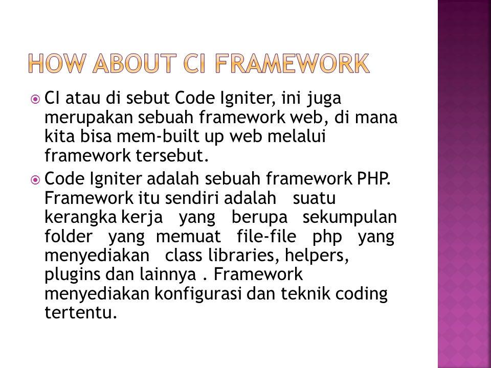  CI atau di sebut Code Igniter, ini juga merupakan sebuah framework web, di mana kita bisa mem-built up web melalui framework tersebut.