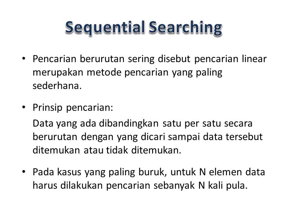 Pencarian berurutan sering disebut pencarian linear merupakan metode pencarian yang paling sederhana. Prinsip pencarian: Data yang ada dibandingkan sa