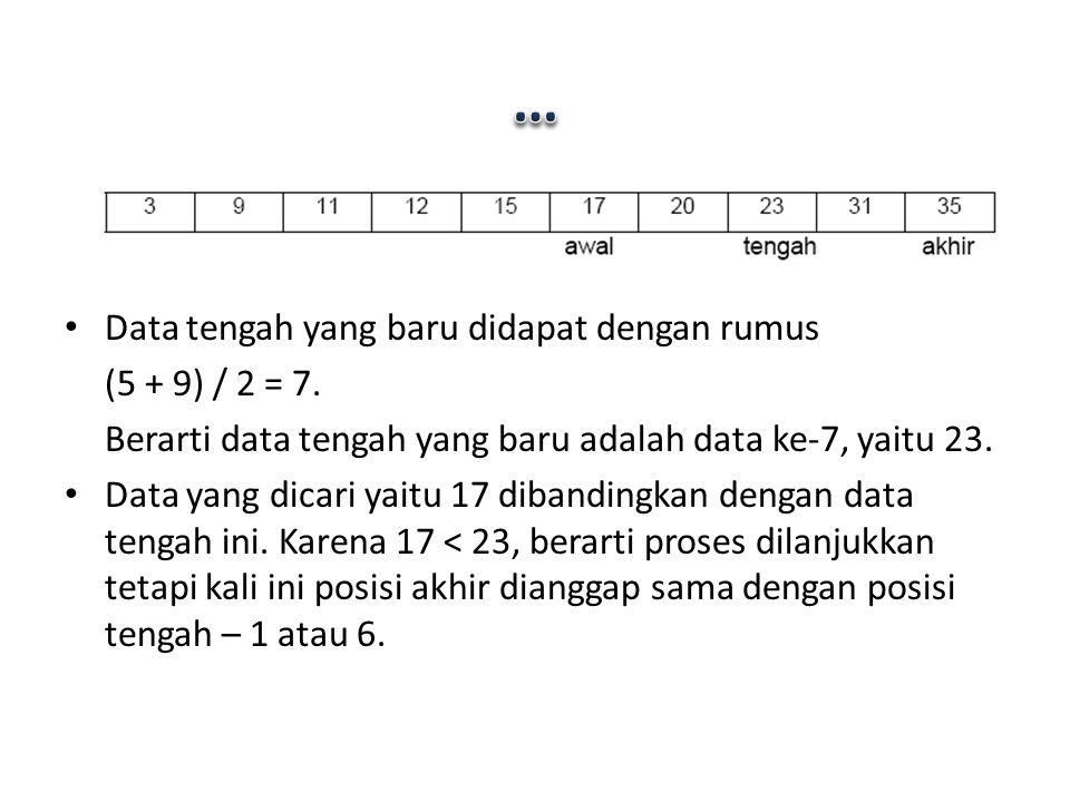 Data tengah yang baru didapat dengan rumus (5 + 9) / 2 = 7. Berarti data tengah yang baru adalah data ke-7, yaitu 23. Data yang dicari yaitu 17 diband