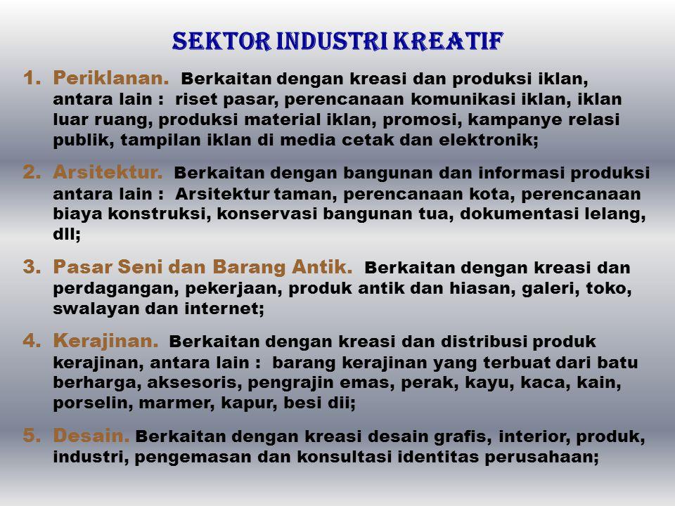 BIDANG INDUSTRI KREATIF 1.Industri kreatif sebagai industri tersendiri yang dengan kreativitasnya menghasilkan desain-desain kreatif sebagai produk at