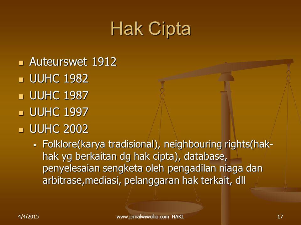 www.jamalwiwoho.com HAKI. Hak Cipta Auteurswet 1912 Auteurswet 1912 UUHC 1982 UUHC 1982 UUHC 1987 UUHC 1987 UUHC 1997 UUHC 1997 UUHC 2002 UUHC 2002 