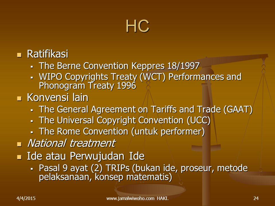 www.jamalwiwoho.com HAKI. HC Ratifikasi Ratifikasi  The Berne Convention Keppres 18/1997  WIPO Copyrights Treaty (WCT) Performances and Phonogram Tr