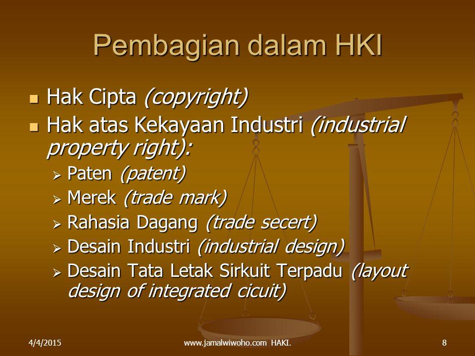 www.jamalwiwoho.com HAKI. Pembagian dalam HKI Hak Cipta (copyright) Hak Cipta (copyright) Hak atas Kekayaan Industri (industrial property right): Hak