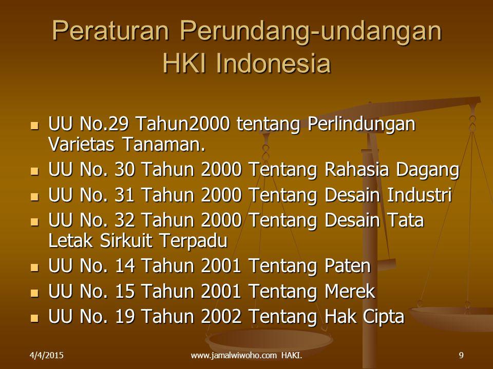 www.jamalwiwoho.com HAKI. Peraturan Perundang-undangan HKI Indonesia UU No.29 Tahun2000 tentang Perlindungan Varietas Tanaman. UU No.29 Tahun2000 tent