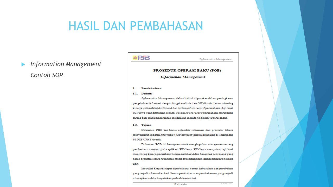 HASIL DAN PEMBAHASAN  Information Management Contoh SOP