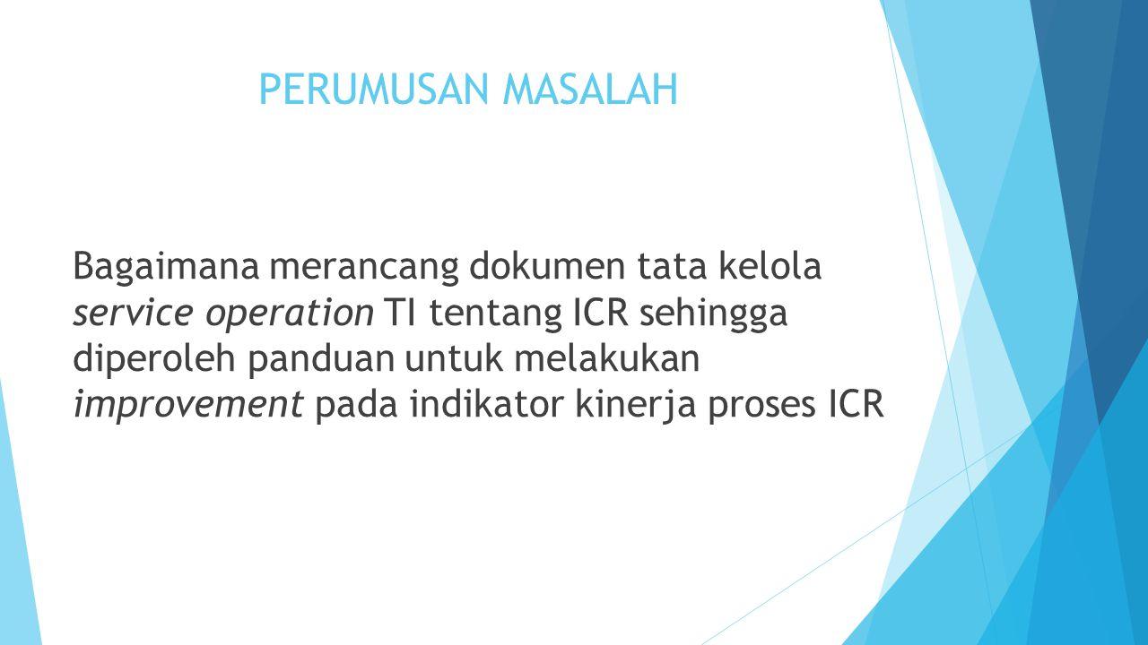 PERUMUSAN MASALAH Bagaimana merancang dokumen tata kelola service operation TI tentang ICR sehingga diperoleh panduan untuk melakukan improvement pada