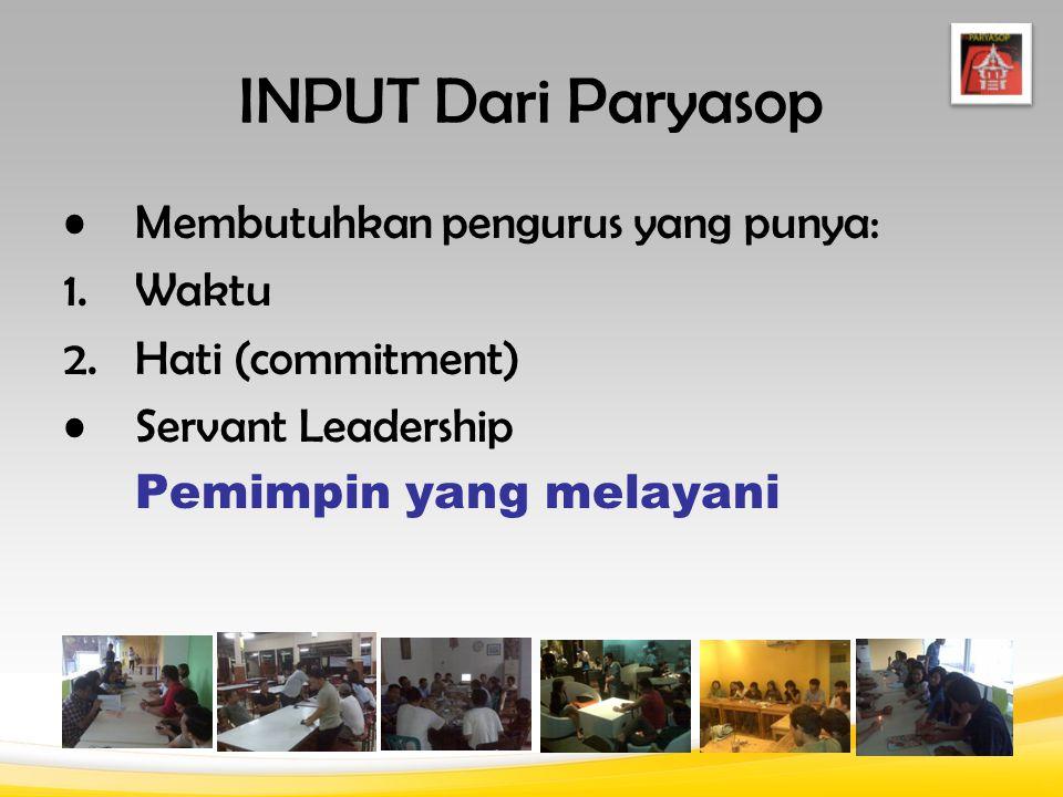 INPUT Dari Paryasop Membutuhkan pengurus yang punya: 1.Waktu 2.Hati (commitment) Servant Leadership Pemimpin yang melayani