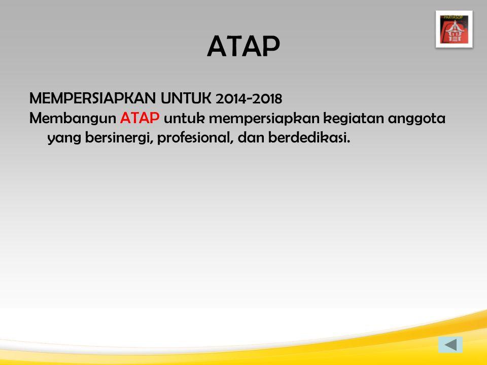 ATAP MEMPERSIAPKAN UNTUK 2014-2018 Membangun ATAP untuk mempersiapkan kegiatan anggota yang bersinergi, profesional, dan berdedikasi.