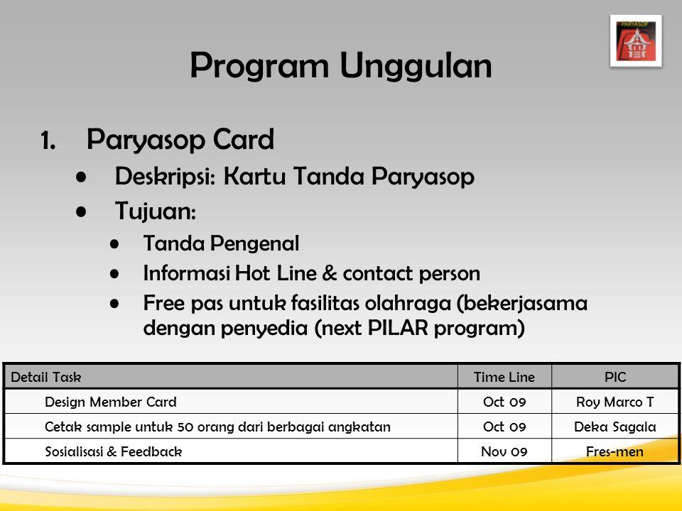 Detail TaskTime LinePIC Design Member Card Oct 09Roy Marco T Cetak sample untuk 50 orang dari berbagai angkatanOct 09Deka Sagala Sosialisasi & Feedbac