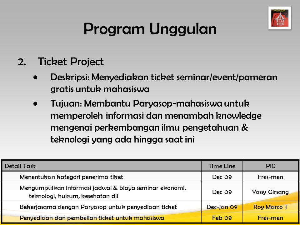 Detail TaskTime LinePIC Menentukan kategori penerima tiket Dec 09Fres-men Mengumpulkan informasi jadwal & biaya seminar ekonomi, teknologi, hukum, kesehatan dll Dec 09Yossy Girsang Bekerjasama dengan Paryasop untuk penyediaan ticketDec-Jan 09Roy Marco T Penyediaan dan pembelian ticket untuk mahasiswaFeb 09Fres-men Program Unggulan 2.Ticket Project Deskripsi: Menyediakan ticket seminar/event/pameran gratis untuk mahasiswa Tujuan: Membantu Paryasop-mahasiswa untuk memperoleh informasi dan menambah knowledge mengenai perkembangan ilmu pengetahuan & teknologi yang ada hingga saat ini