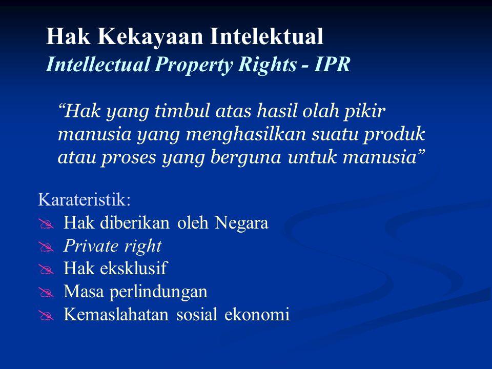 Karateristik: @Hak diberikan oleh Negara @Private right @Hak eksklusif @Masa perlindungan @Kemaslahatan sosial ekonomi Hak Kekayaan Intelektual Intell