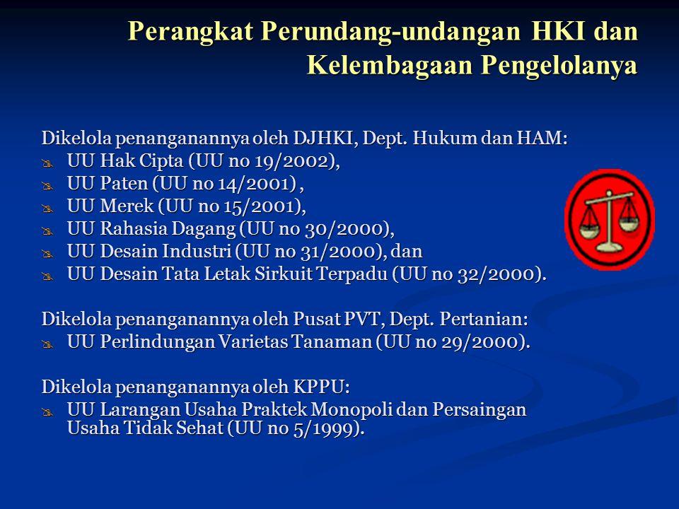 Perangkat Perundang-undangan HKI dan Kelembagaan Pengelolanya Dikelola penanganannya oleh DJHKI, Dept. Hukum dan HAM: @ UU Hak Cipta (UU no 19/2002),