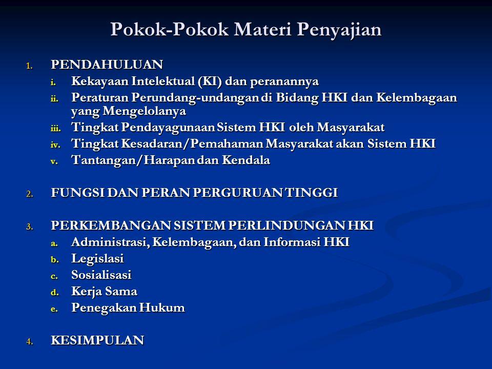 Pokok-Pokok Materi Penyajian 1. PENDAHULUAN i. Kekayaan Intelektual (KI) dan peranannya ii. Peraturan Perundang-undangan di Bidang HKI dan Kelembagaan