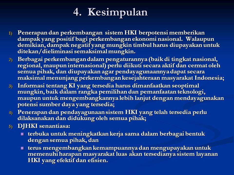 4. Kesimpulan 1) Penerapan dan perkembangan sistem HKI berpotensi memberikan dampak yang positif bagi perkembangan ekonomi nasional. Walaupun demikian