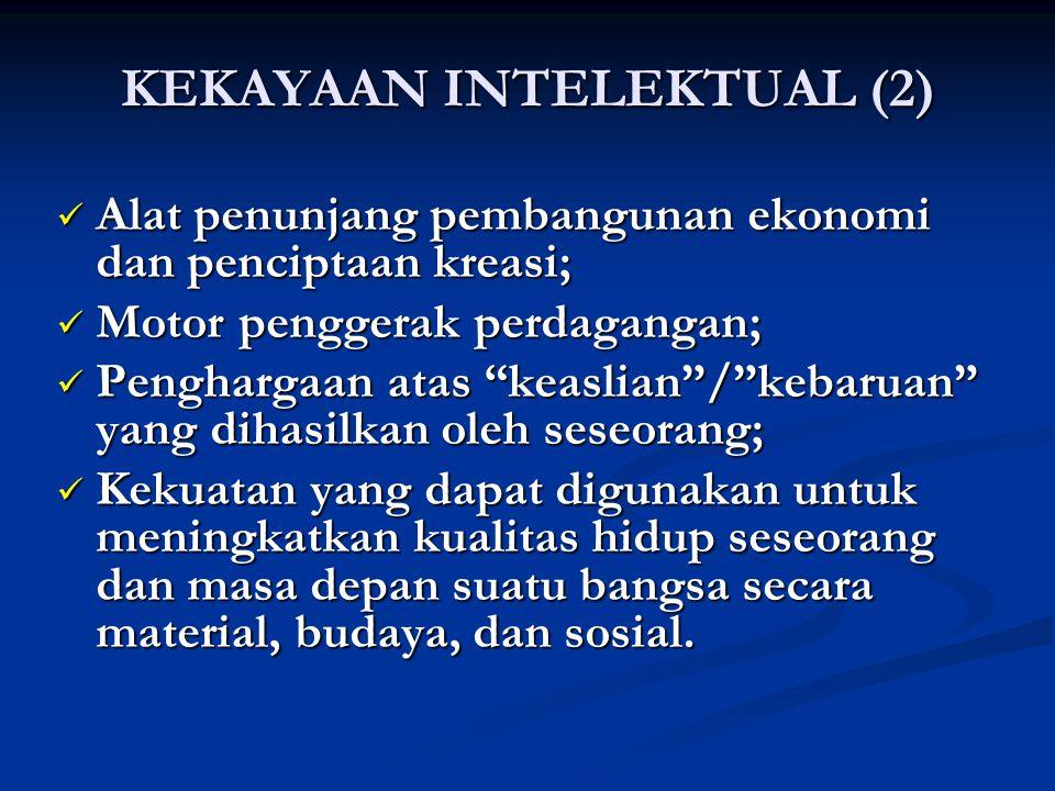KEKAYAAN INTELEKTUAL (2) Alat penunjang pembangunan ekonomi dan penciptaan kreasi; Alat penunjang pembangunan ekonomi dan penciptaan kreasi; Motor pen