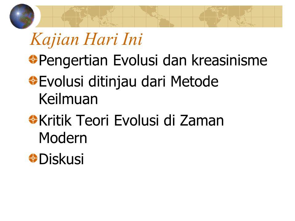 Kajian Hari Ini Pengertian Evolusi dan kreasinisme Evolusi ditinjau dari Metode Keilmuan Kritik Teori Evolusi di Zaman Modern Diskusi