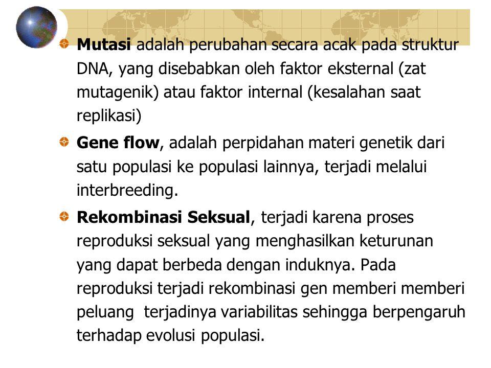 Mutasi adalah perubahan secara acak pada struktur DNA, yang disebabkan oleh faktor eksternal (zat mutagenik) atau faktor internal (kesalahan saat repl