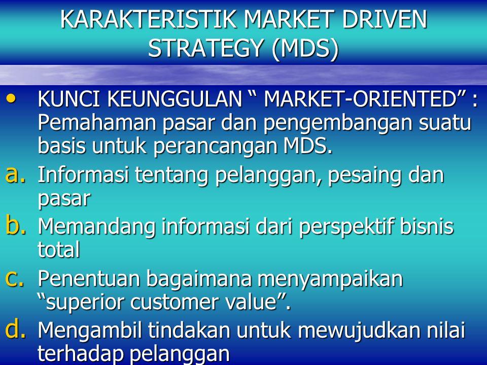 KARAKTERISTIK MARKET DRIVEN STRATEGY (MDS) KUNCI KEUNGGULAN MARKET-ORIENTED : Pemahaman pasar dan pengembangan suatu basis untuk perancangan MDS.