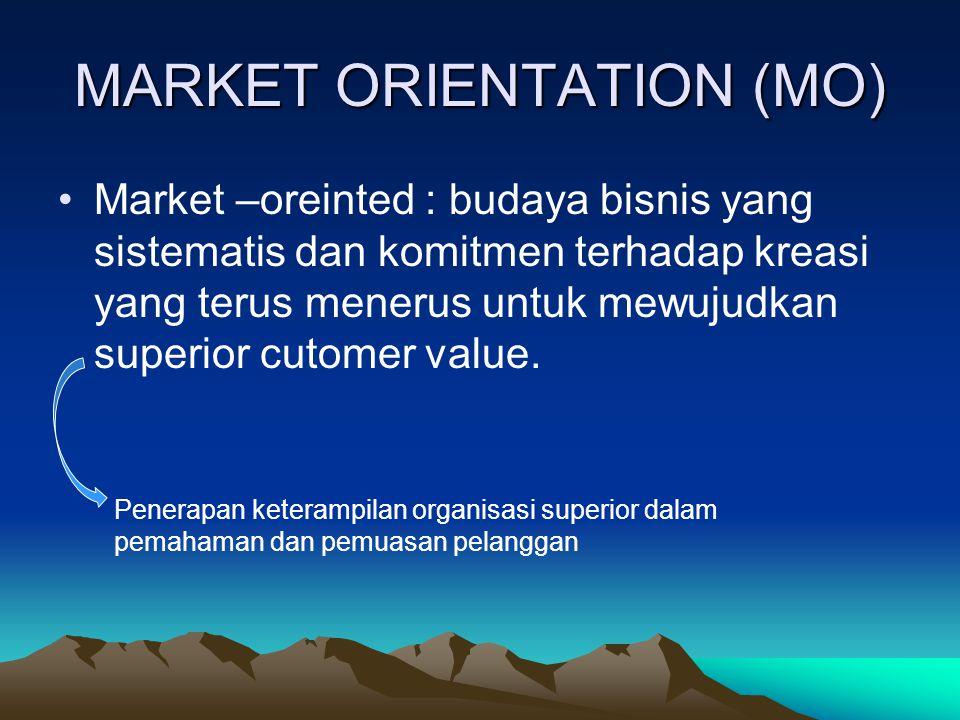 Market –oreinted : budaya bisnis yang sistematis dan komitmen terhadap kreasi yang terus menerus untuk mewujudkan superior cutomer value.