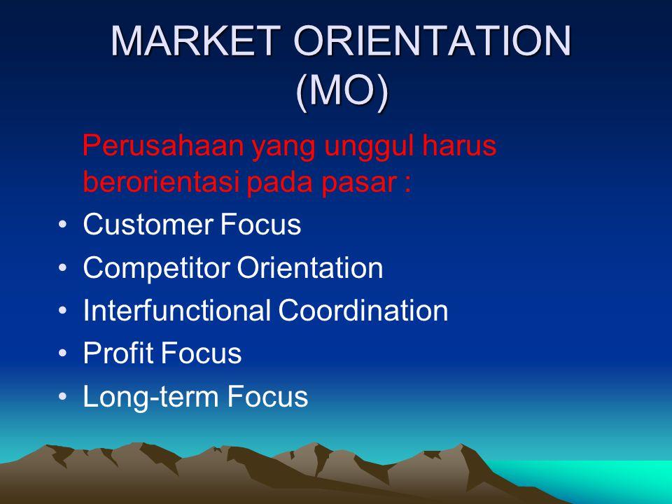 MARKET ORIENTATION (MO) Perusahaan yang unggul harus berorientasi pada pasar : Customer Focus Competitor Orientation Interfunctional Coordination Profit Focus Long-term Focus