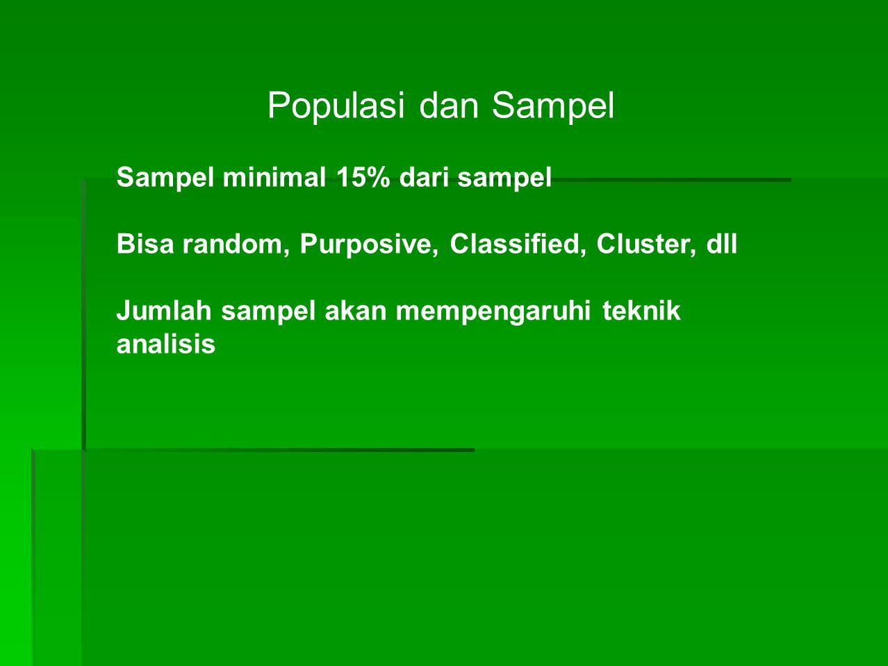 Populasi dan Sampel Sampel minimal 15% dari sampel Bisa random, Purposive, Classified, Cluster, dll Jumlah sampel akan mempengaruhi teknik analisis