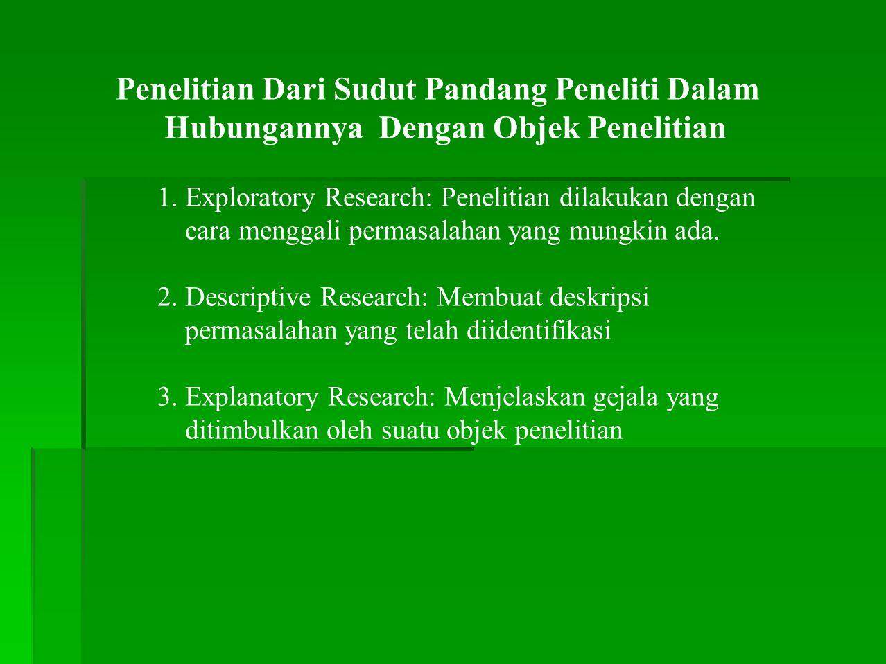 Penelitian Dari Sudut Pandang Peneliti Dalam Hubungannya Dengan Objek Penelitian 1.