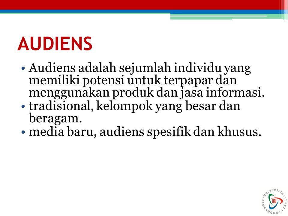 AUDIENS Audiens adalah sejumlah individu yang memiliki potensi untuk terpapar dan menggunakan produk dan jasa informasi. tradisional, kelompok yang be