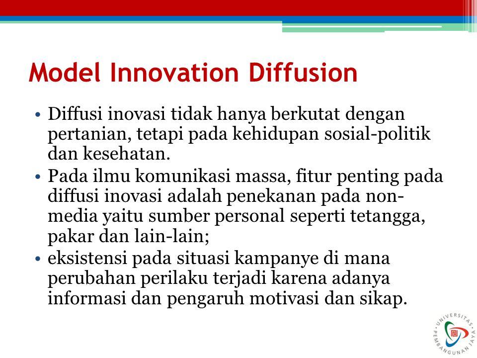 Model Innovation Diffusion Diffusi inovasi tidak hanya berkutat dengan pertanian, tetapi pada kehidupan sosial-politik dan kesehatan. Pada ilmu komuni