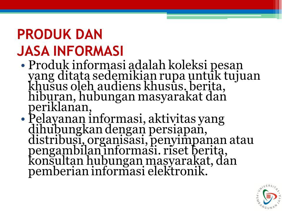 PRODUK DAN JASA INFORMASI Produk informasi adalah koleksi pesan yang ditata sedemikian rupa untuk tujuan khusus oleh audiens khusus. berita, hiburan,