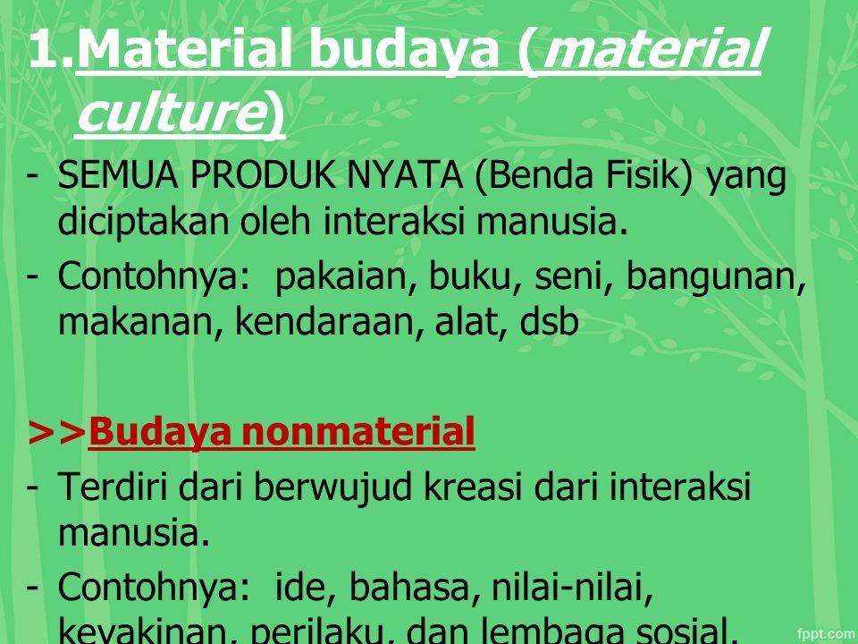 1.Material budaya (material culture) -SEMUA PRODUK NYATA (Benda Fisik) yang diciptakan oleh interaksi manusia. -Contohnya: pakaian, buku, seni, bangun