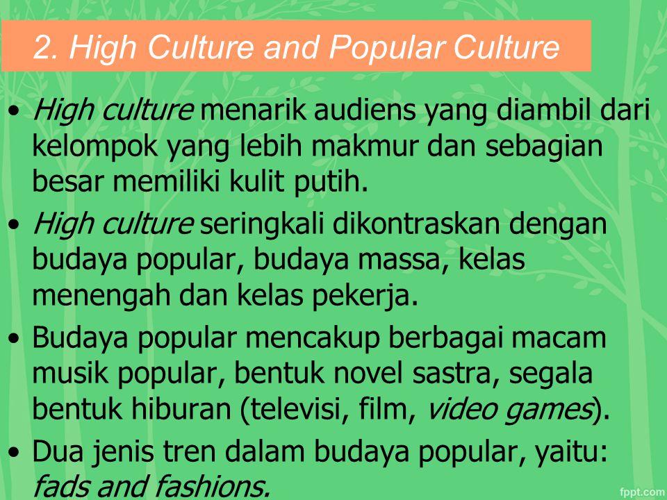 2. High Culture and Popular Culture High culture menarik audiens yang diambil dari kelompok yang lebih makmur dan sebagian besar memiliki kulit putih.