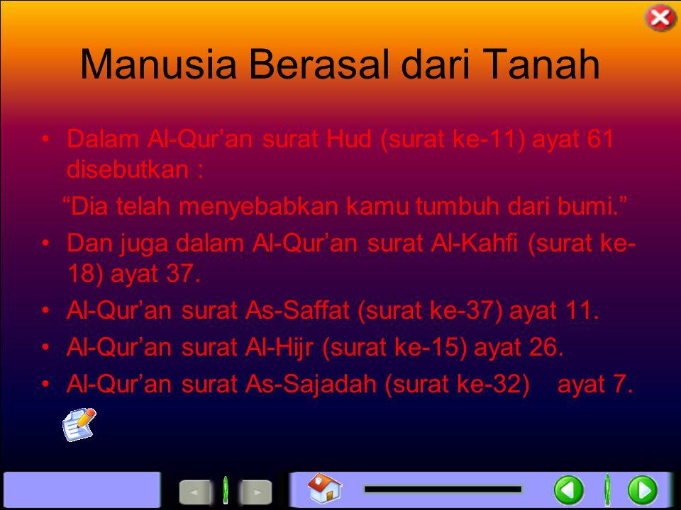 Manusia Berasal dari Tanah Dalam Al-Qur'an surat Hud (surat ke-11) ayat 61 disebutkan : Dia telah menyebabkan kamu tumbuh dari bumi. Dan juga dalam Al-Qur'an surat Al-Kahfi (surat ke- 18) ayat 37.