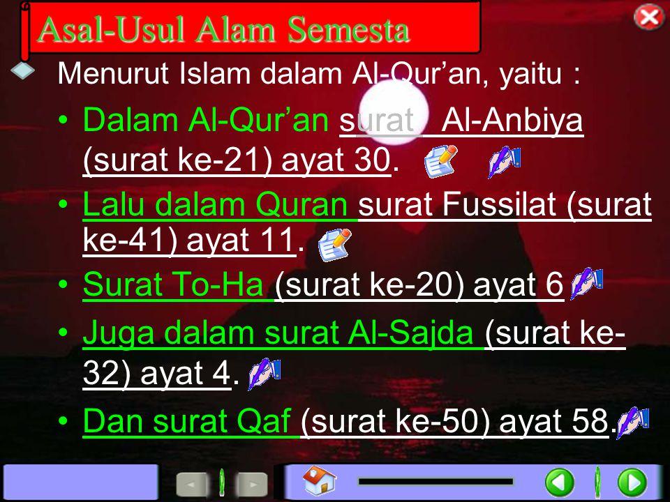 Dalam Al-Qur'an surat Al-Anbiya (surat ke-21) ayat 30. Lalu dalam Quran surat Fussilat (surat ke-41) ayat 11. Surat To-Ha (surat ke-20) ayat 6 Juga da