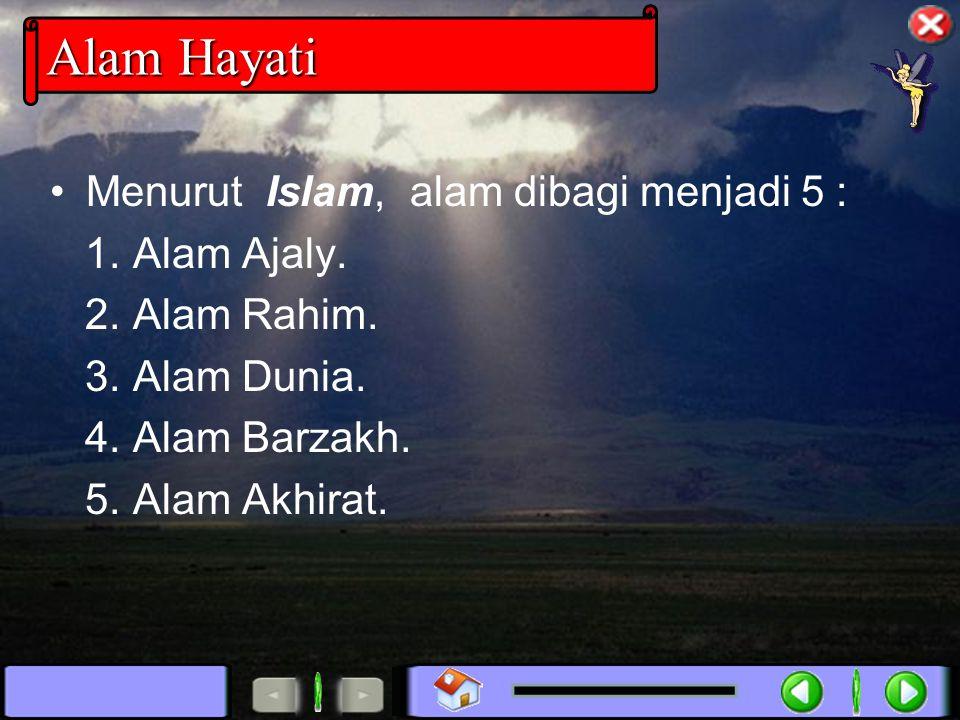 Menurut Islam, alam dibagi menjadi 5 : 1. Alam Ajaly. 2. Alam Rahim. 3. Alam Dunia. 4. Alam Barzakh. 5. Alam Akhirat.