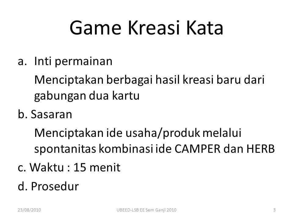 Game Kreasi Kata a.Inti permainan Menciptakan berbagai hasil kreasi baru dari gabungan dua kartu b. Sasaran Menciptakan ide usaha/produk melalui spont
