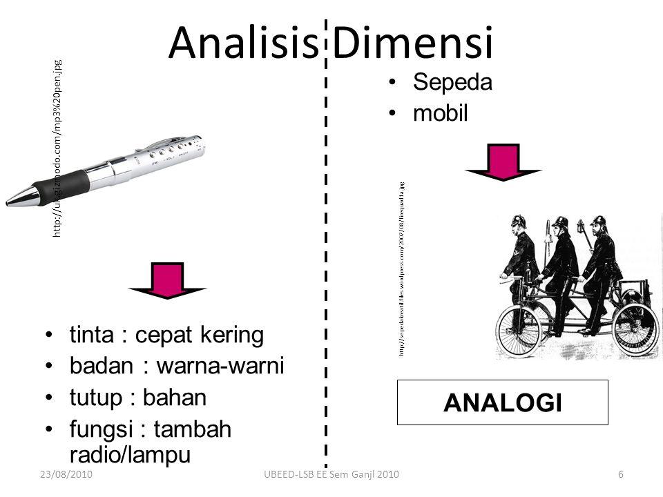 Analisis Dimensi ANALOGI tinta : cepat kering badan : warna-warni tutup : bahan fungsi : tambah radio/lampu Sepeda mobil http://uk.gizmodo.com/mp3%20p