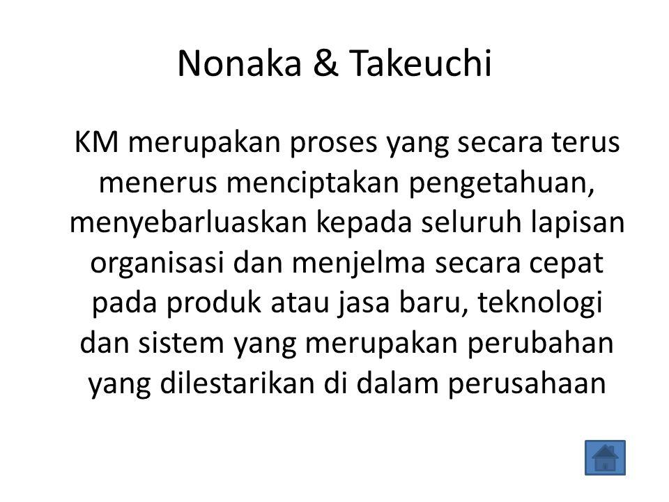 Nonaka & Takeuchi KM merupakan proses yang secara terus menerus menciptakan pengetahuan, menyebarluaskan kepada seluruh lapisan organisasi dan menjelma secara cepat pada produk atau jasa baru, teknologi dan sistem yang merupakan perubahan yang dilestarikan di dalam perusahaan