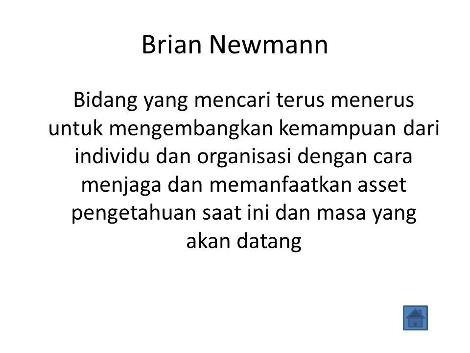 Brian Newmann Bidang yang mencari terus menerus untuk mengembangkan kemampuan dari individu dan organisasi dengan cara menjaga dan memanfaatkan asset pengetahuan saat ini dan masa yang akan datang