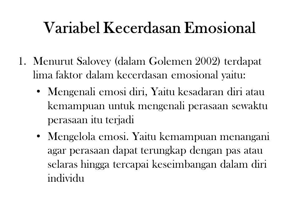 Variabel Kecerdasan Emosional 1.Menurut Salovey (dalam Golemen 2002) terdapat lima faktor dalam kecerdasan emosional yaitu: Mengenali emosi diri, Yaitu kesadaran diri atau kemampuan untuk mengenali perasaan sewaktu perasaan itu terjadi Mengelola emosi.