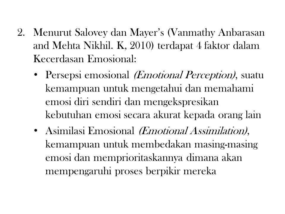 2.Menurut Salovey dan Mayer's (Vanmathy Anbarasan and Mehta Nikhil.