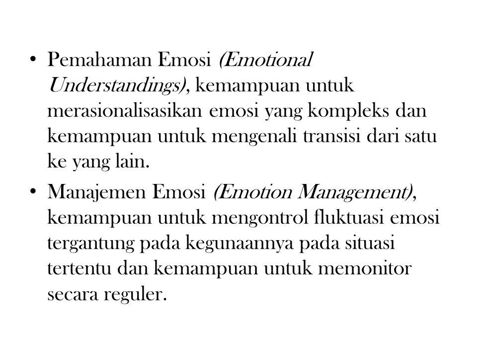 Pemahaman Emosi (Emotional Understandings), kemampuan untuk merasionalisasikan emosi yang kompleks dan kemampuan untuk mengenali transisi dari satu ke yang lain.
