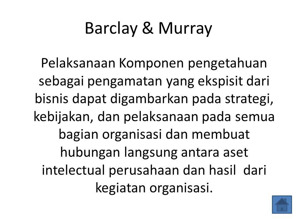 Barclay & Murray Pelaksanaan Komponen pengetahuan sebagai pengamatan yang ekspisit dari bisnis dapat digambarkan pada strategi, kebijakan, dan pelaksa