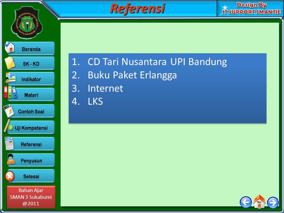 Bahan Ajar SMAN 3 Sukabumi @2011 Bahan Ajar SMAN 3 Sukabumi @2011 1.CD Tari Nusantara UPI Bandung 2.Buku Paket Erlangga 3.Internet 4.LKS 1.CD Tari Nus